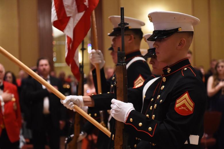 The colors are presented during the Marine Corps Birthday Ball, hosted by Company A, Marine Cryptologic Support Battalion, Nov. 6, 2015, at the at the Denver Athletic Club, Denver. The ball was held in honor of the Marine Corps' 240th birthday, complete with a guest speaker, dinner and dancing. (U.S. Air Force photo by Airman 1st Class Samantha Meadors/Released)