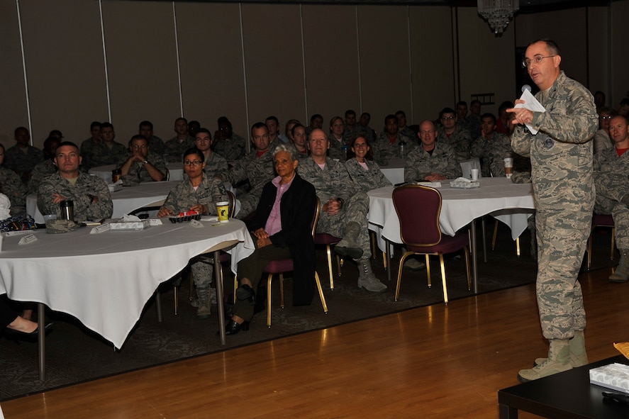 PETERSON AIR FORCE BASE, Colo. – Col. Keith Balts, Air Force Space Command inspector general, speaks at the Storytellers event Oct. 2, 2015 and tells the story of the journal he put together for his daughter while he was deployed. The journal was a compilation of inspirational quotes, stickers, photos and letters to his daughter, encouraging her to be strong while he was away. Balts got Airmen he was deployed with to contribute, ranging from an airman to lieutenant general and a few others as well. (U.S. Air Force photo by Robb Lingley)