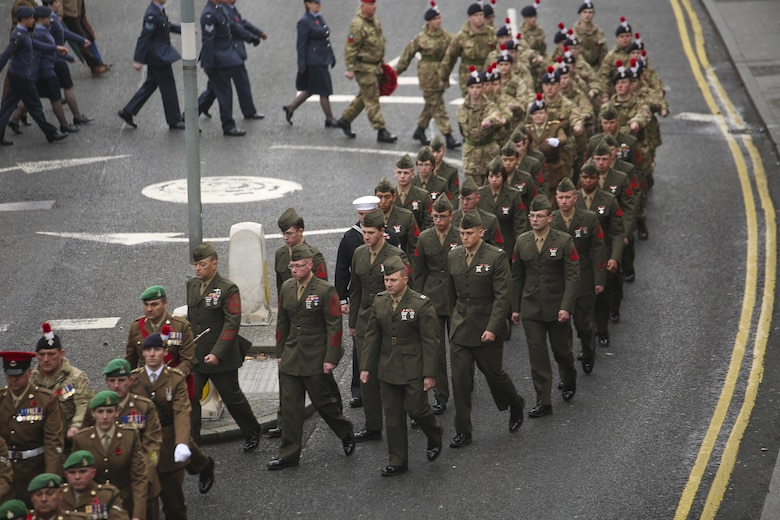 U.S. Marines with 2nd Intelligence Battalion march with British forces during a Remembrance Day Parade in Berwick-upon-Tweed, U.K., Nov. 8, 2015. The Marines partnered with various British services to honor service members who sacrificed their lives in war. (U.S. Marine Corps photo by Cpl. Lucas Hopkins/Released)
