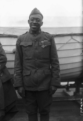 This photograph of Army Sgt. Henry Johnson, a member of the 369th Infantry - originally composed of New York National Guard Soldiers - was taken as the troop ship carrying the regiment returned to New York City in 1919.