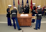 DIA Director LtGen Vincent Stewart, USMC,  cuts the cake at the celebration of the 240th birthday of the United States Marine Corps at DIA HQ in Washington, DC.