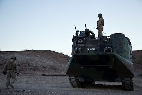 U.S. 1st Marine Division, Alpha Company, 3D Amphibious Assault Battalion conducts their Amphibious Assault Vehicle qualifications tables 1-9 for the first time at Yuma Proving Grounds, Ariz., on Nov. 6, 2015.  Alpha Company is conducting this training in preparation for future deployments. (U.S. Marine Corps photo taken by LCpl. AaronJames B. Vinculado/Released)