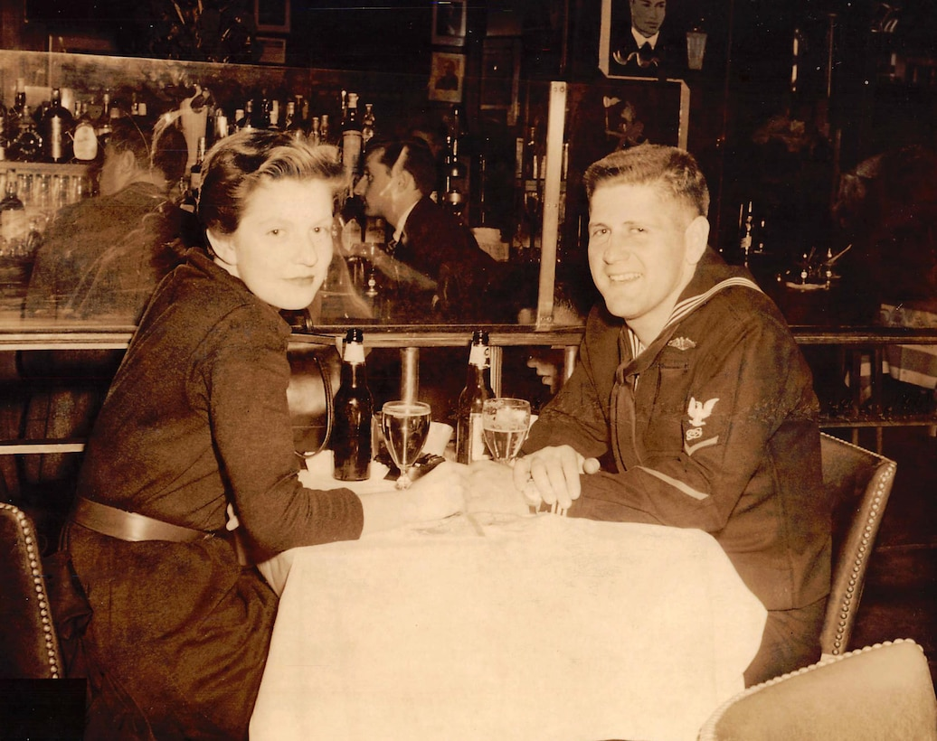 Patricia Ann Brennan has dinner in May 1955 with Navy Electronics Technician 3rd Class Lee Rogers at the Jack Dempsey Restaurant in New York City approximately one month before the couple was married.