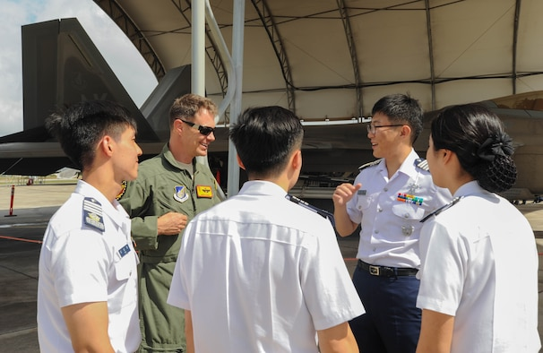 U.S. Air Force Lt. Col. James Sage, Hawaiian Raptors pilot, discusses U.S. Air Force F-22 Raptor capabilities with Republic of Korea Air Force Academy cadets, Nov. 10, 2015, Joint Base Pearl Harbor-Hickam, Hawaii. The cadets' visit was part of an effort to build a foundation of partnership and interoperability between Headquarters Pacific Air Forces and future ROKAF leaders. (U.S. Air Force photo by Tech. Sgt. Amanda Dick/Released)