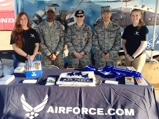 U.S. Air Force Valdosta recruiters from the 336th Recruiting Squadron and two Delayed Entry Program members pose for a photo during the Sunbelt Ag Expo, Oct. 20, 2015, in Moultrie, Ga. The expo is described as the largest farm show in America with field demonstrations and recruiters attended the event to promote the Air Force to potential recruits. (Courtesy photo)