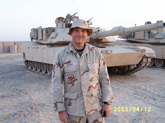 Staff Sgt. William Brown poses for a photo at a U.S. Army post while deployed in support of Operation Iraqi Freedom, April 4, 2005. Brown was assigned to U.S. Army's 917th Corps Support Group, 1058th Gun Truck Detachment as gun truck commander of gun truck security. Brown was deployed from the 188th Logistics Readiness Squadron, Fort Smith, Ark., and is a native of Conway, Ark. (Courtesy photo)