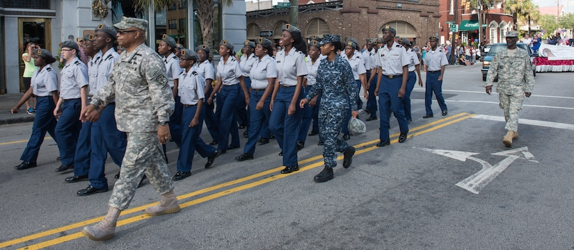 The Garrett Academy Junior Reserve Officer Training Corps unit march through downtown Charleston, S.C., during the Veteran's Day Parade on Nov. 7, 2015. In addition to this JROTC unit, active duty military, veterans, military supporting organizations, volunteers, other JROTC units and the North Charleston High School marching band also were in attendance. (U.S. Air Force photo/Airman 1st Class Thomas T. Charlton)