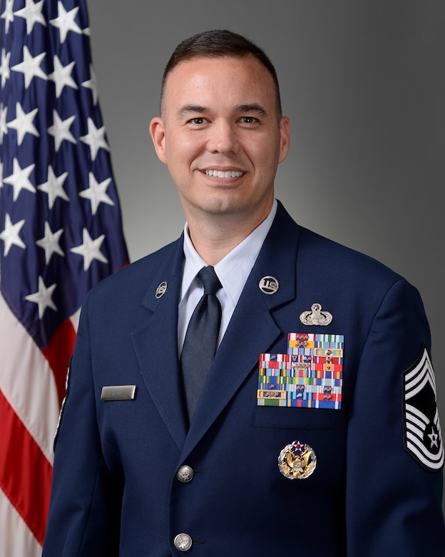 Chief Master Sgt. Alexander Hall is the superintendent for the 50th Network Operations Group at Schriever Air Force Base, Colorado. (U.S. Air Force photo)
