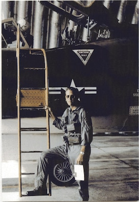 William B. McDonald served on two overseas Palace Alert tours in F-102 units in West Germany and in Southeast Asia.  He is pictured here overseas in a hardened aircraft shelter about to climb into an F-102 Delta Dagger fighter-interceptor.  (Courtesy 142FW History Archives)