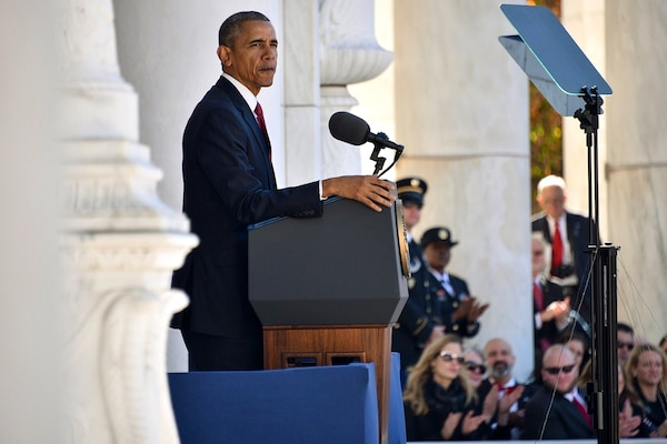President Barack Obama delivers the Veterans Day address during a ceremony at The Tomb of the Unknown Soldier in Arlington National Cemetery in Arlington, Va., Nov. 11, 2015. U.S. Coast Guard photo by Petty Officer 2nd Class Patrick Kelley