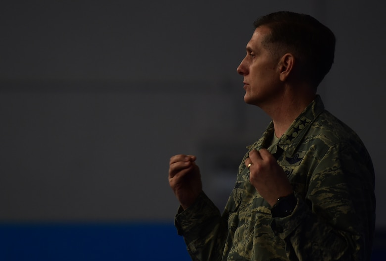 Lt. Gen. Timothy Ray, the 3rd Air Force and 17th Expeditionary Air Force commander, speaks to Airmen during an all-call at RAF Croughton, United Kingdom, Nov. 10, 2015. During the visit, he met and interacted with Airmen around the 501st Combat Support Wing.  (U.S. Air Force photo by Master Sgt. Chrissy Best/Released)