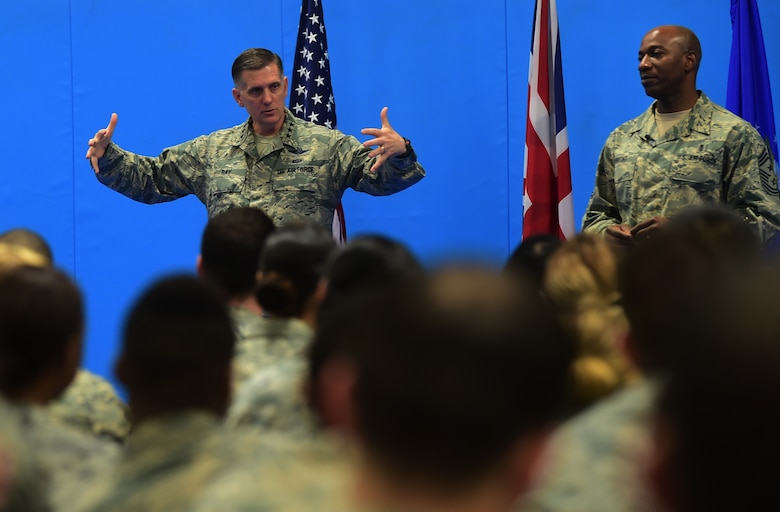 Lt. Gen. Timothy Ray, the 3rd Air Force and 17th Expeditionary Air Force commander and Chief Master Sgt. Kaleth Wright, the 3rd Air Force and 17th Expeditionary Air Force command chief, speak to Airmen during an all-call at RAF Croughton, United Kingdom, Nov. 10, 2015. During the event, Ray spoke about how Airmen should be proud of their service and their accomplishments in the Air Force. The senior leaders received firsthand knowledge of the 501st Combat Support Wing's mission and met and interacted with Airmen. (U.S. Air Force photo by Master Sgt. Chrissy Best/Released)