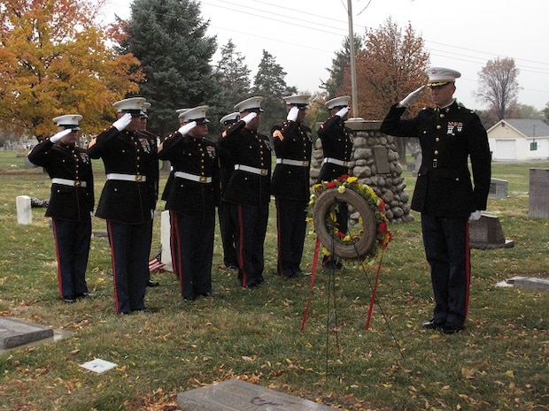 Marines of Co C, 4th Light Armored Reconnaissance Battalion Inspector-Instructor staff conduct a wreath laying ceremony for Sgt. Maj. Joseph W. Dailey at Pleasant Grove Cemetery, Pleasant Grove, Utah, November 10, 2015. Sgt. Maj. Dailey served as the 5th sergeant major of the Marine Corps. (Photo courtesy of 4th LAR Battalion)