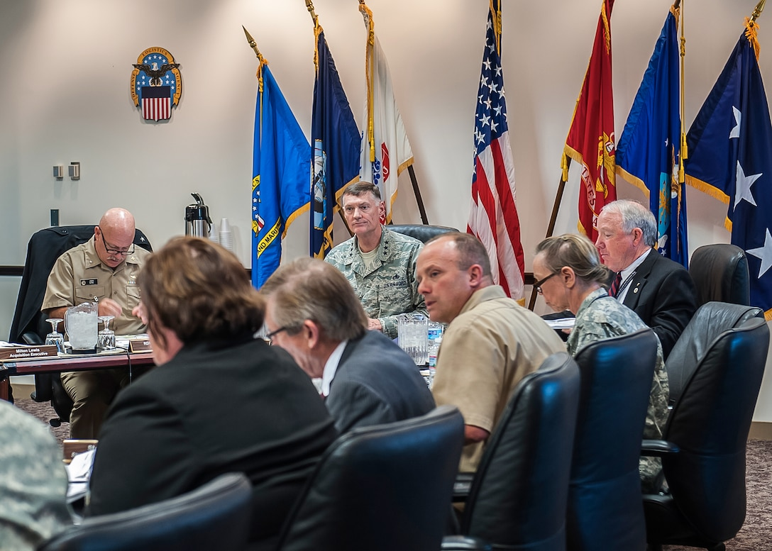 Air Force Lt. Gen. Andy Busch, DLA Director, was presented Land and Maritime's Annual Operating Plan Oct. 29 inside Building 20 on Defense Supply Center Columbus. Leaders from across the organization briefed him on the organization's major strategic and operational objectives.