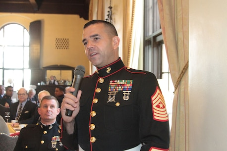 Sgt. Maj. Rob Baker, Recruiting Station Sacramento, introduces during a celebration luncheon for the 240th birthday of the U.S. Marine Corps at the Sutter Club in Sacramento, Nov. 10, 2015. During the annual luncheon, each Marine introduces himself and shares his or her history of service. (U.S. Marine Corps photo by Staff Sgt. Jacob H. Harrer)