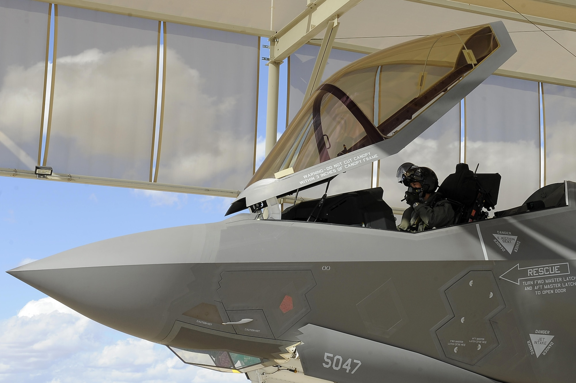 Royal Norwegian Air Force Maj. Morten Hanche, a 62nd Fighter Squadron training pilot, prepares for his first F-35 Lightning ll flight Nov. 10, 2015, at Luke Air Force Base. His flight coincided with the arrival of the first Norwegian F-35 and the Royal Norwegian Air Force's birthday. (U.S. Air Force photo/Airman Pedro Mota)