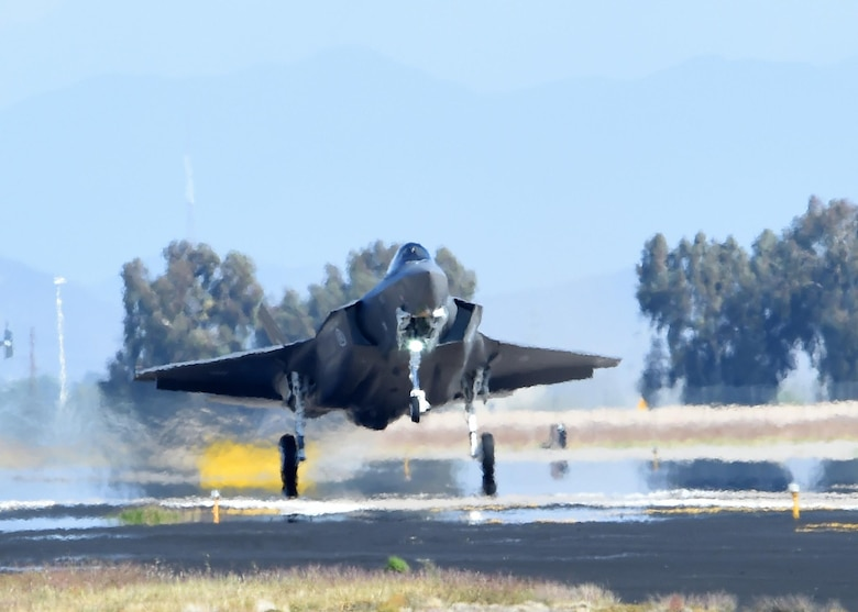 The second Norwegian F-35 Lightning II touches down at Luke Air Force Base, Ariz., Nov. 10, 2015. The jet marks the scheduled arrival of the first of two F-35s for the Royal Norwegian Air Force, making Norway the newest partner in the international F-35 joint-partnership program at Luke. (U.S. Air Force photo/Staff Sgt. Marcy Copeland)