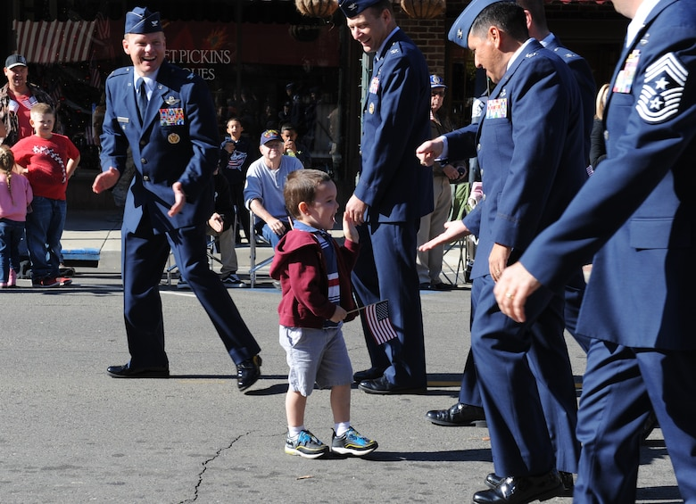 Team Beale leadership participate in the Yuba/Sutter Veterans Day Parade in Marysville, California, Nov. 11, 2015. Veterans Day is celebrated throughout the U.S. to honor those who have served and are serving in the Armed Forces. (U.S. Air Force photo by Staff Sgt. Robert M. Trujillo)