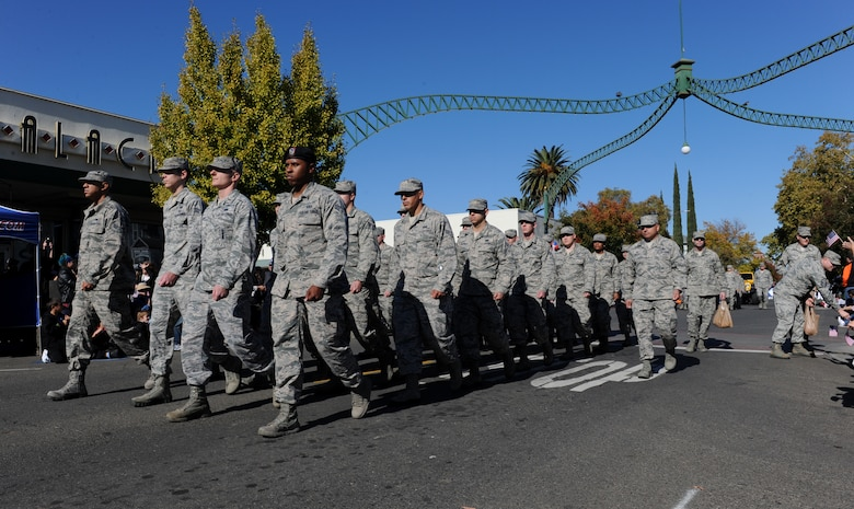 Members of Team Beale participate in the Yuba/Sutter Veterans Day Parade in Marysville, California, Nov. 11, 2015. Veterans Day is celebrated throughout the U.S. to honor those who have served and are serving in the Armed Forces. (U.S. Air Force photo by Staff Sgt. Robert M. Trujillo)