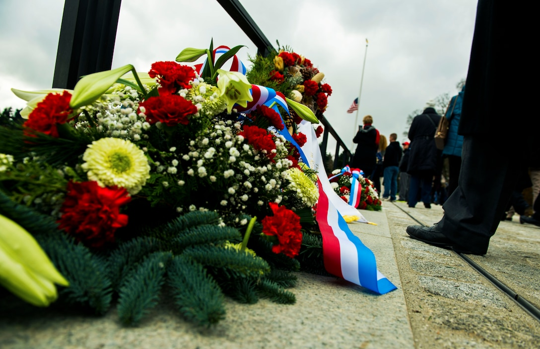 Memorial wreathes lay as tribute after a wreath-laying ceremony at the Luxembourg American Cemetery and Memorial in Hamm, Luxembourg City, Luxembourg, Nov. 11, 2015. The cemetery is one of the fourteen permanent World War II American military cemeteries erected on foreign soil by the American Battle Monuments Commission and its free use was granted by the Grand Ducal government of Luxembourg without charge or taxation. (U.S. Air Force photo by Airman 1st Class Timothy Kim/Released)