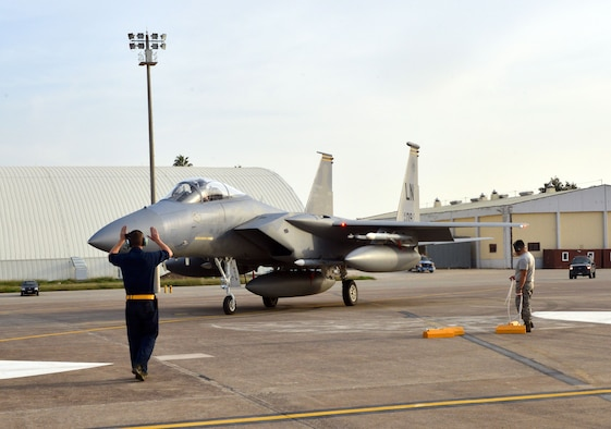 An F-15C Eagle from the 493rd Fighter Squadron at RAF Lakenheath, UK, taxis into a parking spot Nov. 6, 2015, at Incirlik Air Base, Turkey. The six F-15Cs are deployed to Incirlik to conduct combat air patrols in Turkish air space.The U.S. and Turkey, as NATO allies, share a commitment to peace and stability in the region. (U.S. Air Force photo by Staff Sgt. Michael Battles/Released)