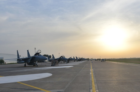 Six F-15C Eagles from the 493rd Fighter Squadron at RAF Lakenheath, UK, arrived Nov. 6, 2015, at Incirlik Air Base, Turkey. The six F-15Cs are deployed to Incirlik to conduct combat air patrols in Turkish air space. The U.S. and Turkey, as NATO allies, share a commitment to peace and stability in the region. (U.S. Air Force photo by Staff Sgt. Michael Battles/Released)