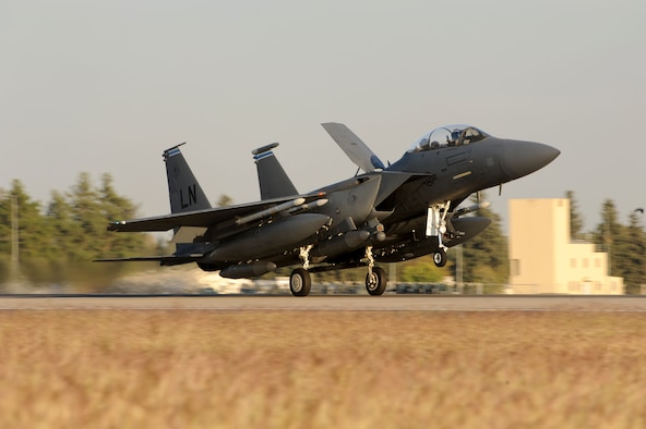 A U.S. Air Force F-15E Strike Eagle lands on the runway Nov. 12, 2015, at Incirlik Air Base, Turkey. Six F-15Es from the 48th Fighter Wing based at RAF Lakenheath, UK, are deployed to Incirlik AB as a part of Operation Inherent Resolve.These aircraft are designed to perform air-to-air and air-to-ground missions in all weather conditions. (U.S. Air Force photo by Tech. Sgt. Taylor Worley)