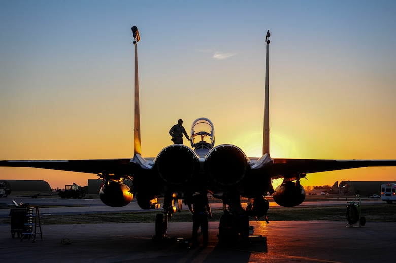 U.S. Air Force F-15E Strike Eagle sits after shortly landing Nov. 12, 2015, at Incirlik Air Base, Turkey. Six F-15Es from the 48th Fighter Wing, based at RAF Lakenheath, UK,  deployed to Incirlik in support of Operation Inherent Resolve and counter-ISIL missions in Iraq and Syria. This dual-role fighter jet is designed to perform air-to-air and air-to-ground missions in all weather conditions. (U.S. Air Force photo by Airman 1st Class Cory W. Bush/Released)