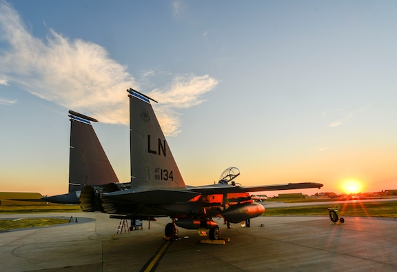 U.S. Air Force F-15E Strike Eagle sits shortly after landing Nov. 12, 2015, at Incirlik Air Base, Turkey. The F-15Es from the 48th Fighter Wing, based at RAF Lakenheath, UK, and are deployed to Incirlik in support of Operation Inherent Resolve and counter-ISIL missions in Iraq and Syria. (U.S. Air Force photo by Airman 1st Class Cory W. Bush/Released)