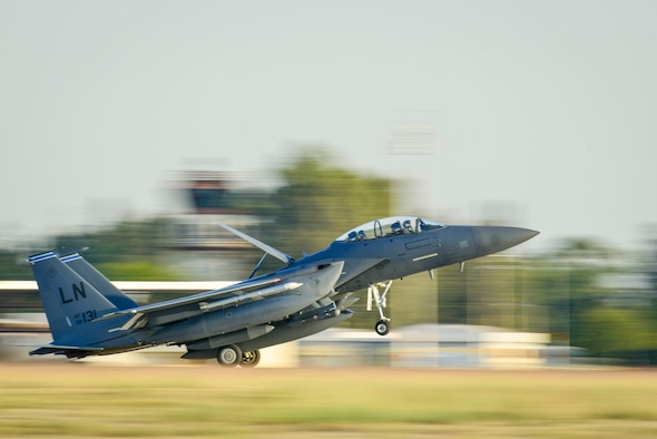 An U.S. Air Force F-15E Strike Eagle from the 48th Fighter Wing at RAF Lakenheath, UK, lands Nov. 12, 2015 at Incirlik Air Base, Turkey. The aircraft are deployed to Incirlik AB in support of Operation Inherent Resolve and counter-ISIL missions in Iraq and Syria. This dual-role fighter jet is designed to perform air-to-air and air-to-ground missions in all weather conditions. (U.S. Air Force photo by Airman 1st Class Cory W. Bush/Released)
