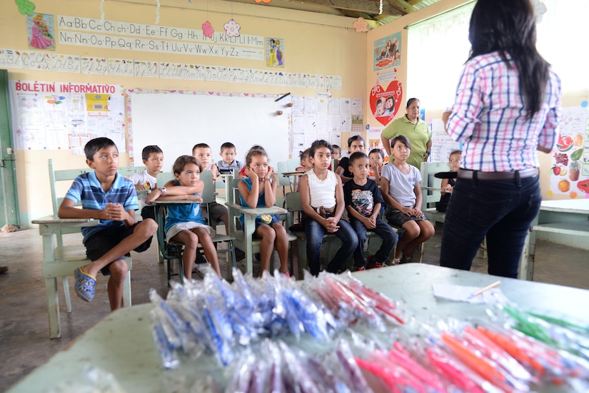 Children from San Jose de Rio Pinto, Honduras, learn how to properly take care of their teeth during a Medical Readiness Training Exercise, Nov. 12, 2015. Over time, the MEDRETES Joint Task Force-Bravo has partnered with in the region have helped thousands of individuals in remote areas with basic healthcare and hygiene education, in addition to providing routine dental and medical services. (U.S. Air Force Photo by Senior Airman Westin Warburton/Released)