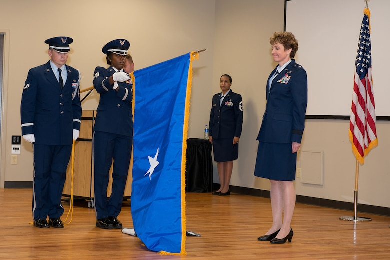 U.S. Air Force Col. Theresa Prince, Air National Guard Assistant to the Chief Nurse Corps at the Defense Health Headquarters, is promoted to the rank of Brig. Gen. in the South Carolina Air National Guard at McEntire Joint National Guard Base, Eastover, S.C., Nov. 7, 2015.  Prince has 37 years of military experience, 19 in the South Carolina Air National Guard and is the first female to be promoted as a general officer in the unit. (U.S. Air National Guard photo by Tech. Sgt. Jorge Intriago/Released)