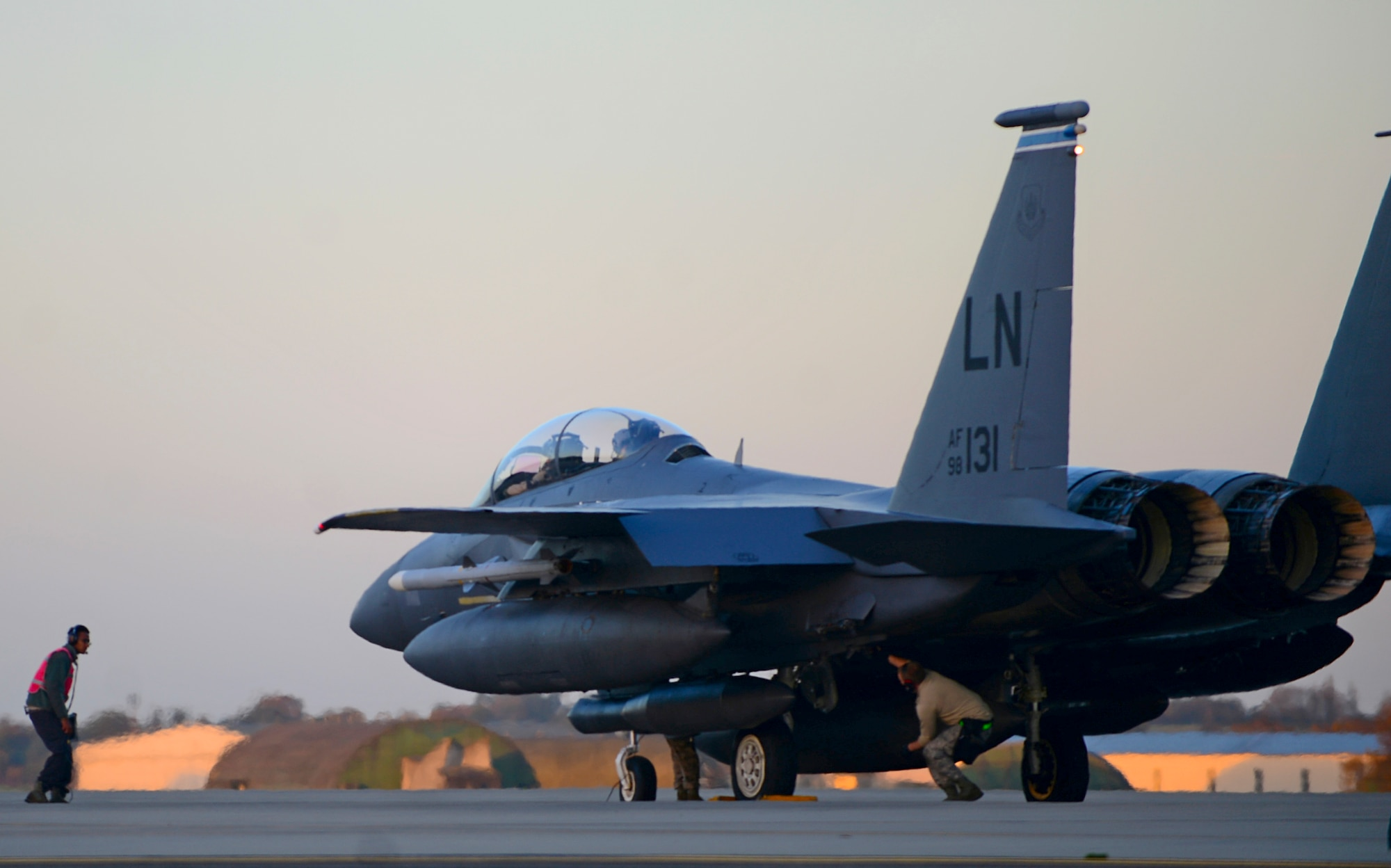 Maintainers inspect an F-15 E Strike Eagle before departure from Royal Air Force Lakenheath, England, in support of Operation Inherent Resolve Nov. 12, 2015. Aircraft from the 48th Fighter Wing deployed to Incirlik Air Base, Turkey, to conduct counter-Islamic State of Iraq and the Levant missions in Iraq and Syria. The dual-role fighter designed to perform air-to-air and air-to-ground missions in all weather conditions. (U.S. Air Force photo/Senior Airman Erin Trower)