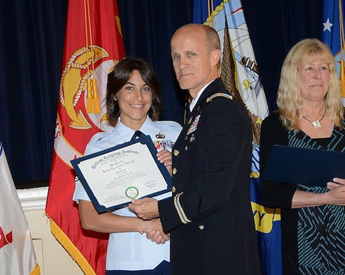 Tech. Sgt. Rachel Franklin receives the Defense Language Institute Team Excellence Award. (Courtesy photo)