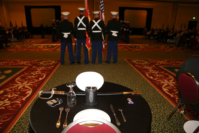 The Fallen Marine Table is displayed at the 240th Marine Corps Birthday Ball at the Marriot Resort and Spa in Hilton Head, S.C. Nov. 6. The table honors Marines who have died in combat.