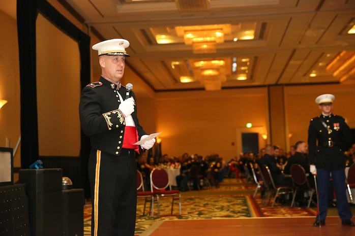 Col. Peter D. Buck welcomes Marines to the Marine Corps Birthday Ball at the Marriot Resort and Spa in Hilton Head, S.C. Nov. 6. Nov. 10 marks the 240th year the Marine Corps has been in existence and Marines will celebrate with birthday balls all over the world. Buck is the commanding officer of Marine Corps Air Station Beaufort.