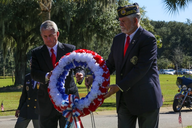 A wreath is placed in honor of all veterans and current service members during a Veteran's Day ceremony Nov. 11. The wreath was placed to honor and pay tribute to all fallen service members and those laid to rest in the cemetery. The ceremony was held at the Beaufort National Cemetery.
