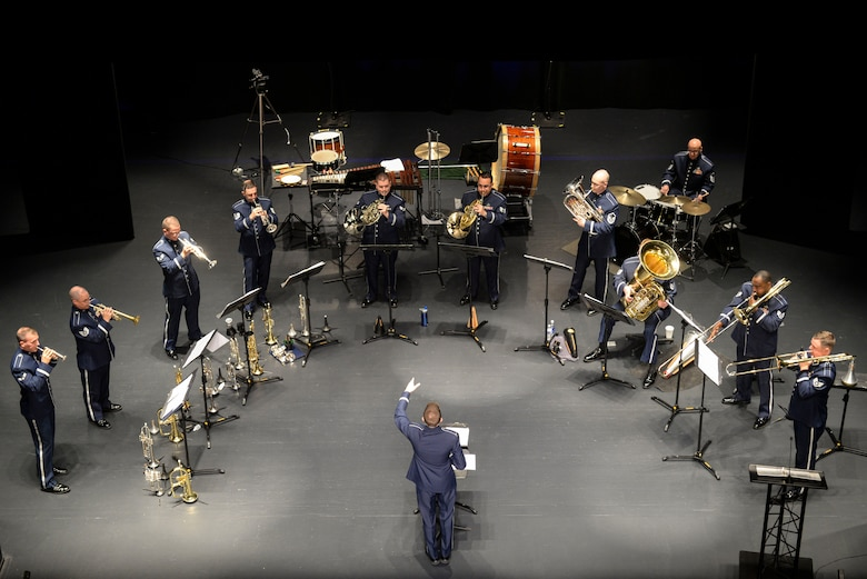 Members of the U.S. Air Force Heritage of America Band's Heritage Brass ensemble play a set at the Paramount Theater in Goldsboro, N.C., Nov. 5, 2015. Each year, the band's ensembles perform more than 300 concerts along the East Coast. (U.S. Air Force photo/Airman 1st Class Ashley Williamson)