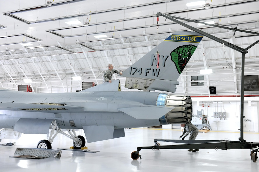This F-16A Fighting Falcon, tail No. 80-0504, was last assigned to the 174th Attack Wing at Hancock Field Air National Guard Base, N.Y., as a ground maintenance trainer before it was retired from service and disassembled Nov. 5, 2015. The aircraft is set to be reassembled and placed at the main entrance of the New York National Guard headquarters in Latham. (U.S. Air National Guard photo/Tech. Sgt. Jeremy Call)