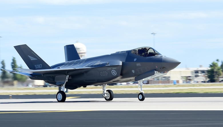 The first Norwegian F-35 Lightning II lands at Luke Air Force Base, Ariz., Nov. 10, 2015. The jet marks the scheduled arrival of the first of two F-35s for the Royal Norwegian Air Force, making Norway the newest partner in the international F-35 joint partnership program at Luke. (U.S. Air Force photo/Staff Sgt. Marcy Copeland)
