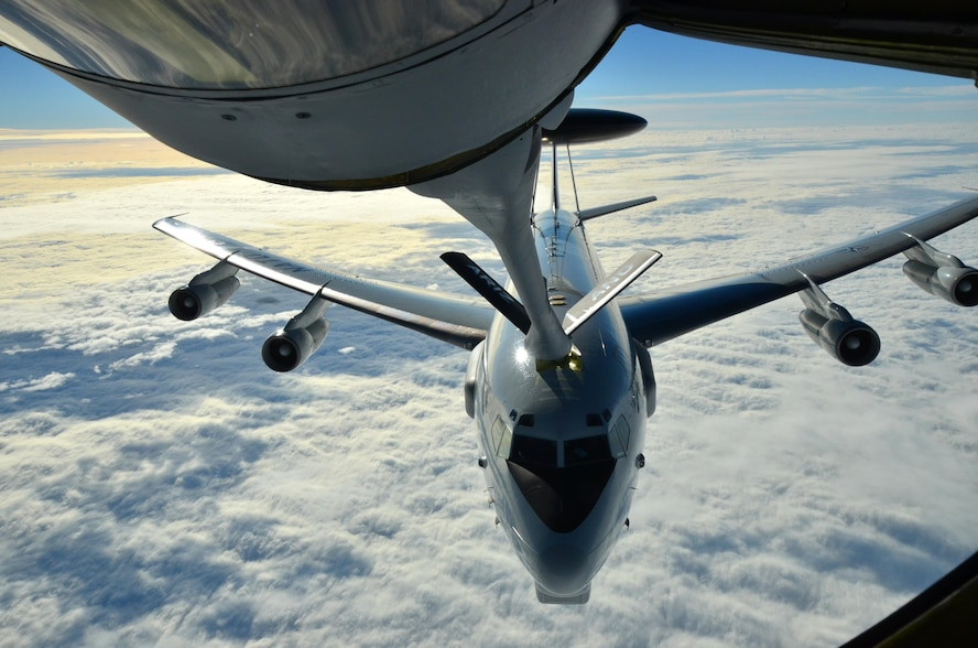 A NATO E-3A Sentry (AWACS) is refueled by an Arizona Air National Guard KC-135 Stratotanker over northern Germany during a training mission Nov. 10, 2015. Airmen from the 161st Air Refueling Wing based in Phoenix are supporting aircrew training operations Nov. 9-20 at NATO Air Base Geilenkirchen, Germany. (U.S. Air National Guard photo/Lt. Col. Gabe Johnson)