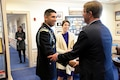 Defense Secretary Ash Carter greets Medal of Honor recipient, retired Army Capt. Florent A. Groberg, in his office before the Hall of Heroes induction ceremony at the Pentagon, Nov. 13, 2015. A day earlier, President Barack Obama presented the Medal of Honor to Groberg at the White House for courageous actions in Afghanistan. DoD photo by U.S. Army Sgt. 1st Class Clydell Kinchen