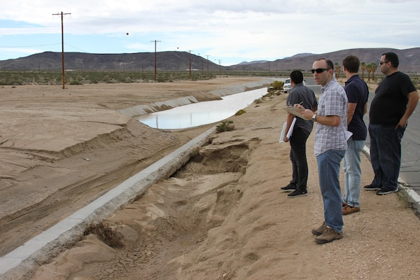 The U.S. Army Corps of Engineers Los Angeles district sent a four-person team of engineering professionals to the National Training Center at Fort Irwin to assess damages to the installation after flash floods from a storm hit the post Oct. 5.