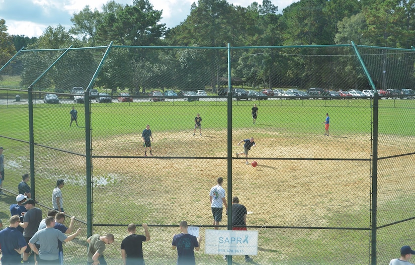 Service members assigned to various commands on Joint Base Charleston - Weapons Station participated in a kickball tournament Nov. 7, 2015. The event was hosted by the Navy's Sexual Assault Prevention and Response team. (U.S. Navy photo by Mass Communication 3rd Class John Haynes/Released)