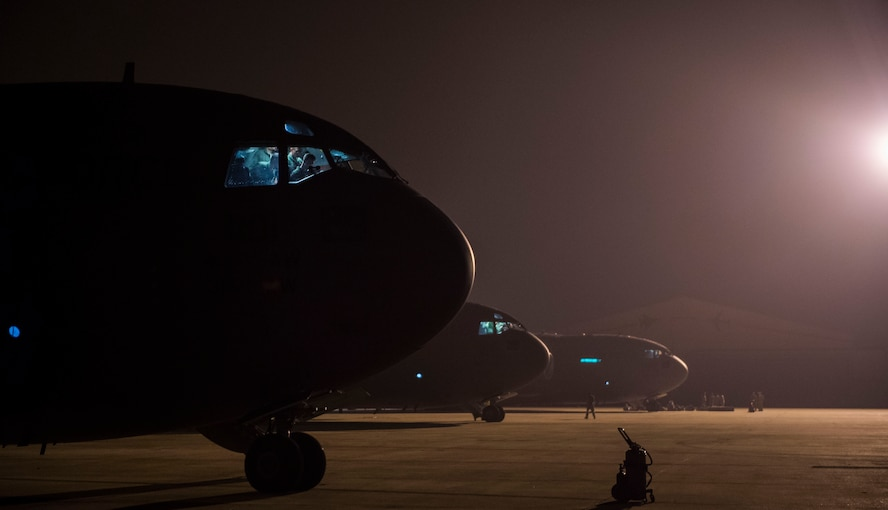 Pilots from the 437th Airlift Wing conduct their preflight checks aboard a C-17 Globemaster III at Zaragoza, Spain, Nov. 7, 2015, during exercise Ultimate Reach 16-1. The exercise is an annual U.S. Transportation Command sponsored, live-fly exercise designed to test the ability of 18th Air Force to plan and conduct strategic airdrop missions with the 82nd Airborne Division. Four C-17 Globemaster IIIs from the 437th Airlift Squadron out of Joint Base Charleston, S.C., participated in a seven-ship formation to airdrop more than 500 U.S. Army and Spanish military jumpers. (U.S. Air Force photo/Senior Airman Jared Trimarchi)
