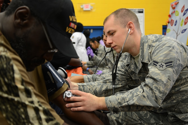 Airman 1st Class Daniel Hansen, 108th Medical Group, New Jersey Air National Guard, checks the blood pressure of a homeless veteran at the New Jersey Department of Military and Veterans Affairs Stand Down Day at the John F. Kennedy recreation center in Newark, N.J. On Oct. 10, 2015. The stand down day allows the veterans to get much needed care and services from a wide array of state agencies and nonprofit organizations. Members of the 108th Medical Group have been providing care at stand down days for more than 10 years and were providing blood pressure checks as a means to have conversations with the veterans about their overall health and wellness. Stand Down is a military term referring to exhausted combat units that were removed from the battlefront to a place of security and safety for rest and recovery. Today, Stand Downs are grass roots, community-based intervention program to help veterans' battle life on the streets. (U.S. Air National Guard photo by Master Sgt. Carl Clegg, Released)