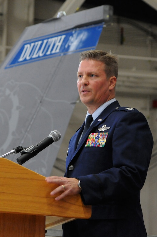 Col. Jon S. Safstrom addresses Airmen from the 148th Fighter Wing, Duluth, Minn. for the first time as their new wing commander, Nov. 14, 2015. Safstrom assumed command from Col. Frank H. Stokes who accepted a position at the National Guard Bureau, Arlington, Va. (U.S. Air Force photo by Tech. Sgt. Amie Muller/released)