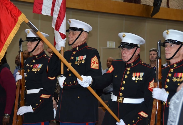 The Marine Veterans Color Guard led by Master Gunnery Sgt. Tom Milhausen (National Flag bearer) posted and retired the colors Nov. 10, 2015 during Defense Logistics Agency Aviation's celebration of the 240th Birthday of the U.S. Marine Corps in the Frank B. Lotts Conference Center on Defense Supply Center Richmond, Virginia. Pictured, from left, are Pvt. Kevin O'Connor; Master Gunnery Sgt. Tom Milhausen, Sgt. Wes Pruitt and Staff. Sgt. Jack Bell