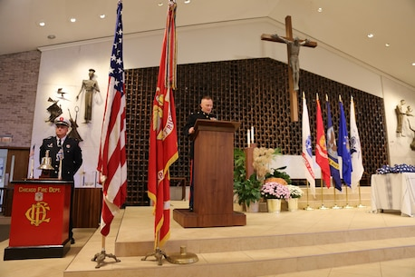 United States Marines and members of the Armed Forces gathered Nov. 15 to honor the service members and FBI agents who have died since the terrorist attacks of Sept. 11, 2001, at St. John Fisher Parish, Chicago, Ill. The memorial was organized by members of the McCarthy Group, named after Marine Medal of Honor Recipient Lt. Col. Joseph J. McCarthy, and whose sole mission is to honor those men and women who have died in service to the nation. (U.S. Marine Corps Official Photo by Capt. James F. Stenger/released)