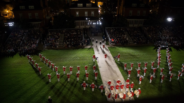 "Pictured from above, ""The Commandant's Own"" performs a concert during a Friday evening parade. (U.S. Marine Corps photo by Staff Sgt. Oscar L. Olive/Released)"